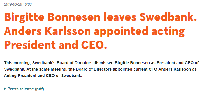 Birgitte Bonnesen leaves Swedbank